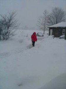 My daughter, Jordyn, shoveling snow